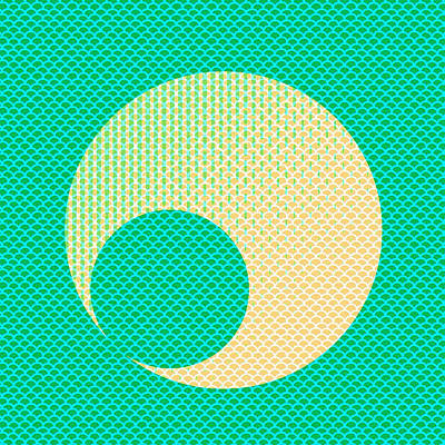 Teal And Yellow Semi Circle Art Print