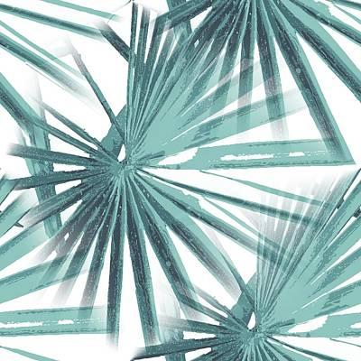 Digital Art - Teal Aqua Tropical Beach Palm Fan Vector by Taiche Acrylic Art