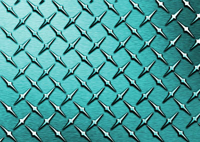 Abstract Digital Art - Teal Diamond Plate  by Mark Moore