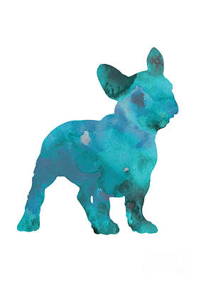 Dog Abstract Art Painting - Teal Frenchie Abstract Painting by Joanna Szmerdt