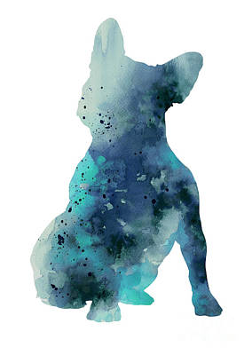 French Bulldog Gifts Painting - Teal Frenchie Watercolor Minimalist Painting by Joanna Szmerdt