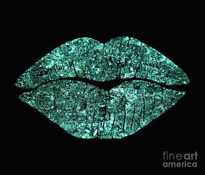 Sparkly Painting - Teal Kiss, Lipstick On Pouty Lips, Fashion Art by Tina Lavoie