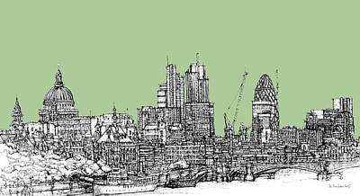 London Skyline Mixed Media - Teal Green London Roofscape by Adendorff Design