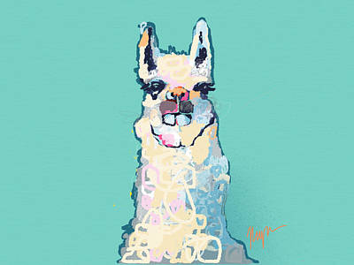 Llamas Painting - Teal Llama by Niya Christine