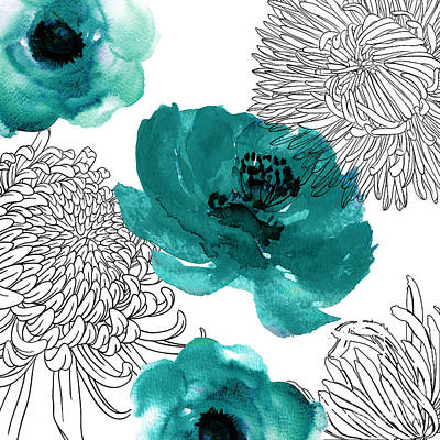 Teal Flowers Painting - Teal Mums by Mindy Sommers