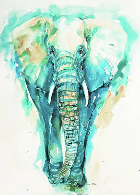 Painting - Teal N Turquoise Elephant by Arti Chauhan