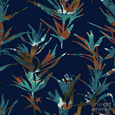 Floral Digital Art Digital Art Digital Art - Teal Plantation by Varpu Kronholm