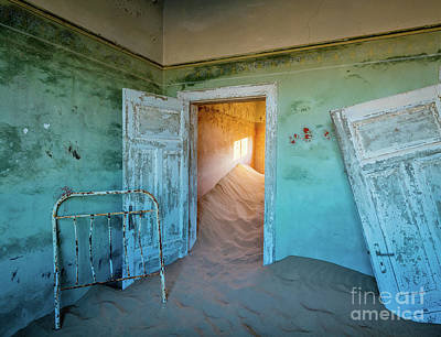 Delapidated Photograph - Teal Room by Inge Johnsson