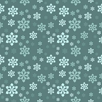Digital Art - Teal Snowflake Pattern by Lynn-Marie Gildersleeve