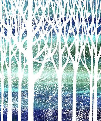 Painting - Teal Snowy Forest Silhouette  by Irina Sztukowski