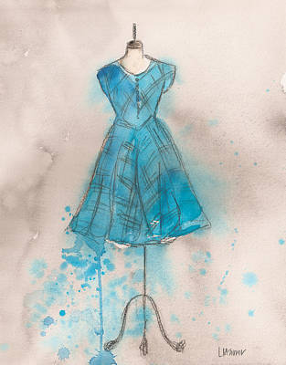 Painting - Teal Striped Dress by Lauren Maurer