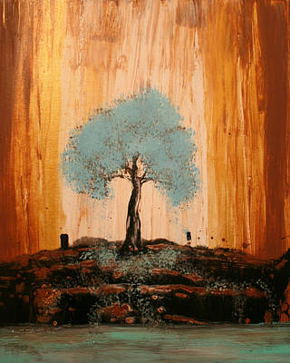 Painting - Teal Turquoise Tree by Alma Yamazaki