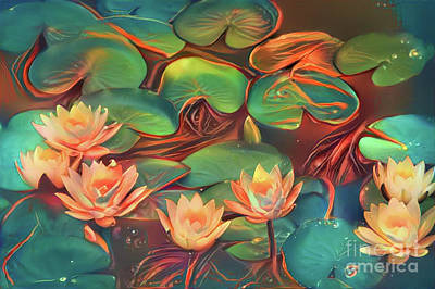 Teal Waterlilies 7 Art Print