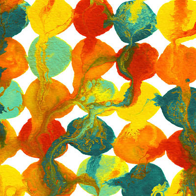 Painting - Teal Yellow Red Orange Flowing Paint Circle Pattern by Amy Vangsgard