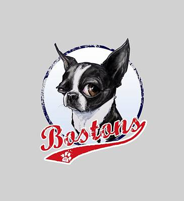 Sports Drawings - Team Boston Terrier by John LaFree