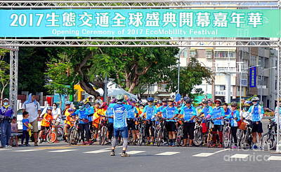 Photograph - Team Of Cyclists Join Parade by Yali Shi