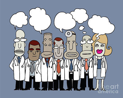 Team Of  Doctors Stand And Talk In Speech Bubbles  Art Print by Pakpong Pongatichat