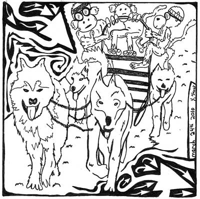 Team Of Monkeys Drawing - Team Of Monkeys Dog Sled Maze by Yonatan Frimer Maze Artist