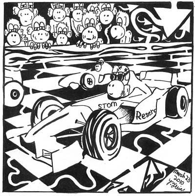 Go Kart Wall Art - Drawing - Team Of Monkeys Go Kart Race by Yonatan Frimer Maze Artist