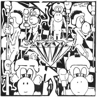 Frimer Drawing - Team Of Monkeys Guarding The Crystal Maze by Yonatan Frimer Maze Artist