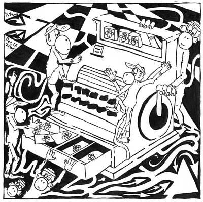 Team Of Monkeys Drawing - Team Of Monkeys Maze Cartoon - Accountants by Yonatan Frimer Maze Artist