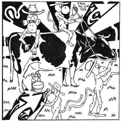 Frimer Drawing - Team Of Monkeys Maze Cartoon - Milking A Holstein Cow by Yonatan Frimer Maze Artist