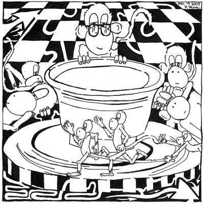 Frimer Drawing - Team Of Monkeys Maze Cartoon - Pottery by Yonatan Frimer Maze Artist