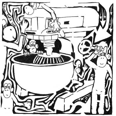 Team Of Monkeys Painting - Team Of Monkeys Maze Comic Cake Mixer by Yonatan Frimer Maze Artist