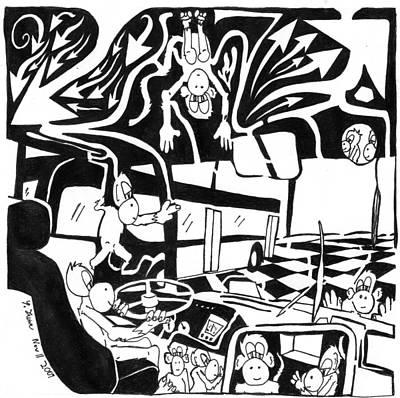 Team Of Monkeys Painting - Team Of Monkeys Maze Driving A Bus by Yonatan Frimer Maze Artist