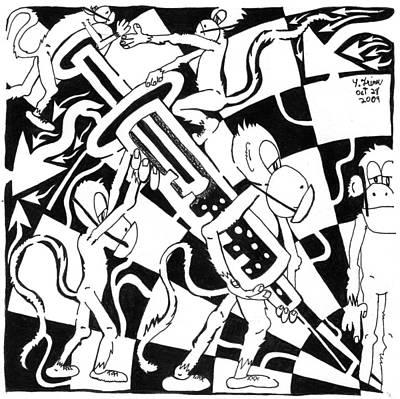 Team Of Monkeys Swine Flu H1n1 Vaccine Art Print by Yonatan Frimer Maze Artist