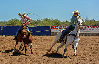 Team Roping Photograph - Team Ropers In Action by Elizabeth Hershkowitz
