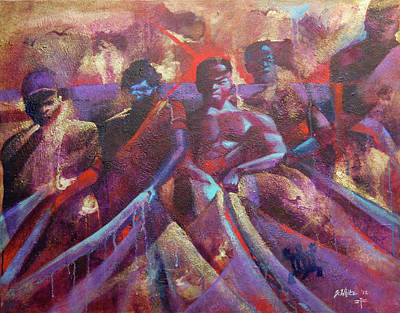 Painting - Team Senegalese Fishermen  by Jerome White