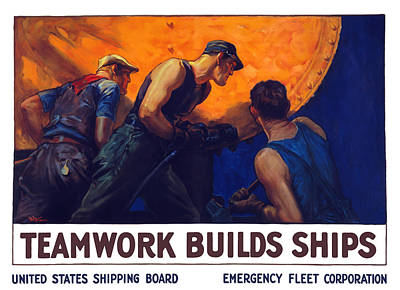 Teamwork Builds Ships Art Print