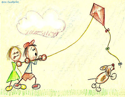 Kites Drawing - Teamwork by Cristophers Dream Artistry
