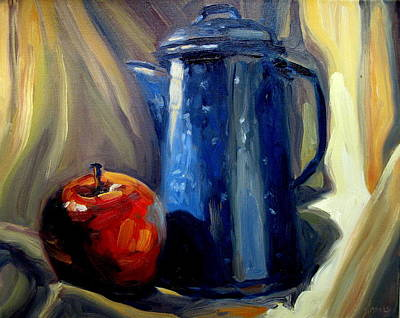 Teapot Painting - Teapot And Apple by Brian Simons