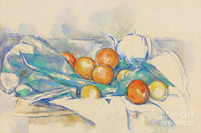 Pantries Painting - Teapot And Oranges  La Nappe by Paul Cezanne