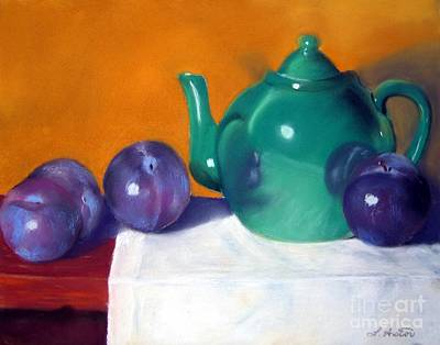 Teapot Painting - Teapot And Plums by Laurel Astor