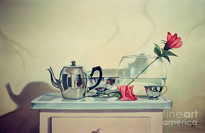 Painting - Teapot And Roses On Stand by Christopher Shellhammer