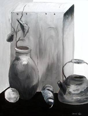 Teapot Painting - Teapot And Vase by Jamie Frier