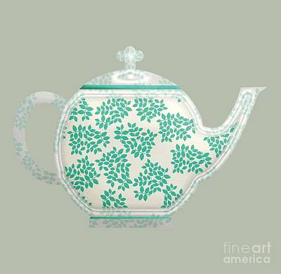 Digital Art - Teapot Garden Party 1 by J Scott