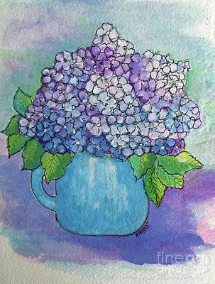Painting - Teapot Hydranger by Rosemary Aubut