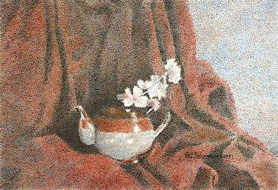 Teapot On Red Art Print by Pat Schermerhorn