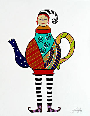 Painting - Teapot Tempest by Jean Fry