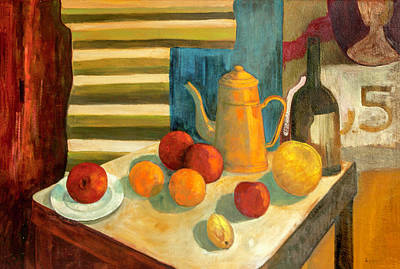 Painting - Teapot With Fruit And Wine by Lynn Palmer