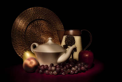 Plates Photograph - Teapot With Fruit Still Life by Tom Mc Nemar