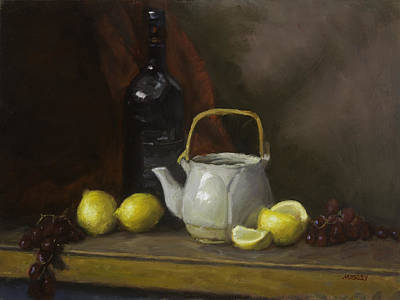 Teapot Painting - Teapot With Lemons And Grapes by Walter Lynn Mosley