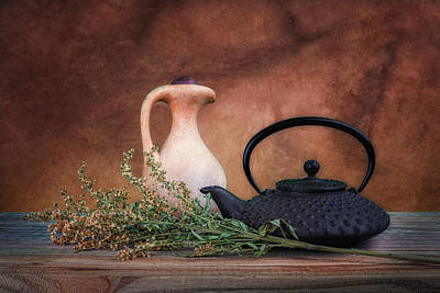Crock Photograph - Teapot With Pitcher Still Life by Tom Mc Nemar