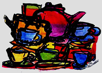 Teapot Painting - Teapots In My Sink by James Christiansen