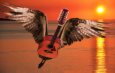 Flying Guitars Digital Art - Teardrops On My Guitar Rocks by Eric Kempson