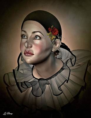 Character Portraits Mixed Media - Tearful Pierrot by G Berry